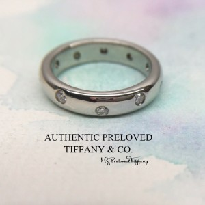Pre-owned Tiffany & Co. Etoile Diamond 0.22ct Platinum Ring 4mm PT950