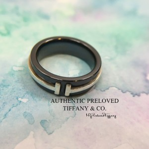 Pre-owned Tiffany & Co. T Two Ring Titanium X Silver #4.5