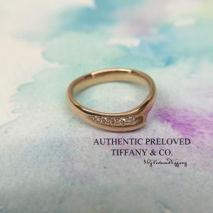 Pre-owned Tiffany & Co. Elsa Peretti Open Heart Diamond Ring Rose Gold #4.5