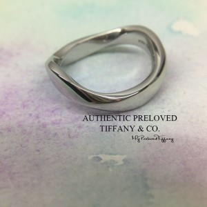 Pre-owned Tiffany & Co. Elsa Peretti Wave Curved Pt950 Wedding Band Ring
