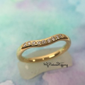 Tiffany & Co. Elsa Peretti 9 Diamonds 750 Gold Curved Band Ring