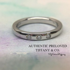 Tiffany & Co. Elsa Peretti 3 Diamonds Platinum Stacking Band Ring