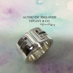 Pre-owned Tiffany & Co. T Two Cutout Silver Wide Ring