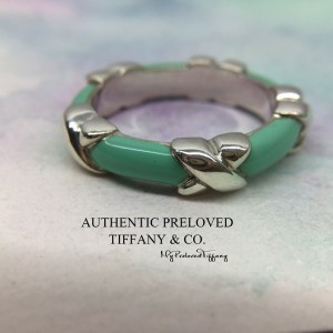 Pre-owned Tiffany & Co. Blue Green Enamel Signature X Silver Ring #6.5