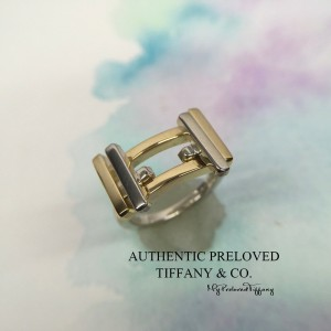 Pre-owned Tiffany & Co. Gehry Axis Silver Gold 18k Ring 4
