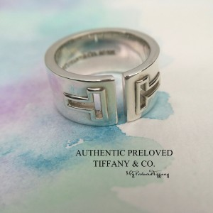 Pre-owned Tiffany & Co. T Cutout Silver Ring #7.25