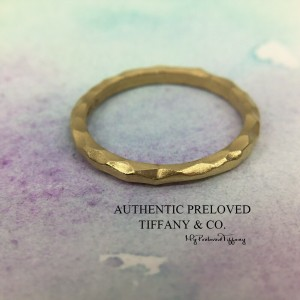 Tiffany & Co. Paloma Picasso Yellow Gold Hammered Band Ring #5.5