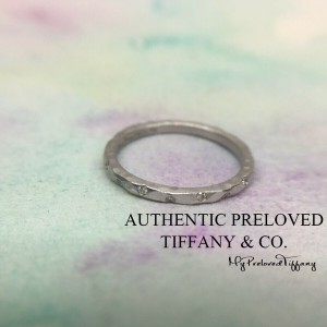 Pre-owned Tiffany & Co. Paloma Picasso Hammered White Gold Diamond Ring #5