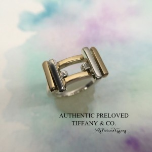 Pre-owned Tiffany & Co. Gehry Axis Silver Gold 18k Ring 5