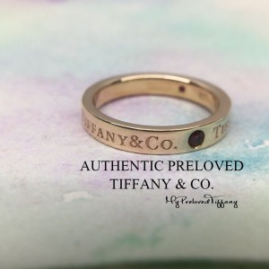 Pre-owned Tiffany & Co. Logo 3 Ruby 3mm Rose Gold Band Ring #4