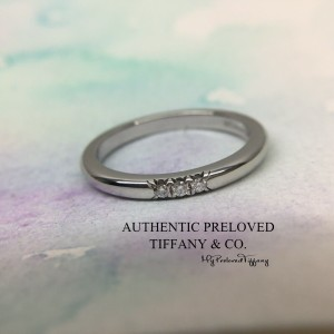 Pre-owned Tiffany & Co. Classic 3 Diamonds Platinum Ring PT950 #4.5