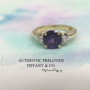 Pre-owned Tiffany & Co. Amethyst Diamond Yellow Gold 750 18K Ring