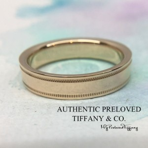 Tiffany & Co. Rose Gold RG Double Milgrain Wedding Band Ring 4mm