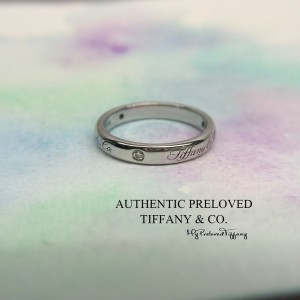 Pre-owned Tiffany & Co. Notes Script 3 Diamonds Platinum Lucida Ring PT950 #5