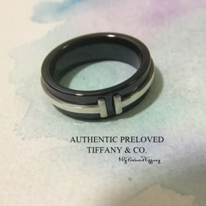 Pre-owned Tiffany & Co. T Two Ring Titanium X Silver #5.25
