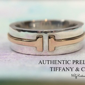 Pre-owned Tiffany & Co. T Two Rose Gold Silver Wide Ring