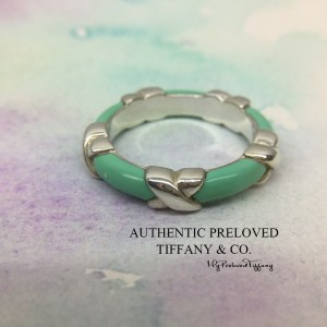 Pre-owned Tiffany & Co. Blue Green Enamel Signature X Silver Ring #7
