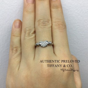 Pre-owned Tiffany & Co. Elsa Peretti Bean Paved Diamond Platinum Ring 4