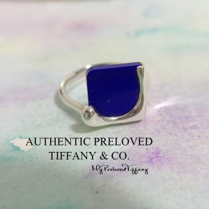 Pre-owned Tiffany & Co. Elsa Peretti Lapis Lazuli Splash Ring #6.5
