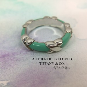 Pre-owned Tiffany & Co. Blue Green Enamel Signature X Silver Ring #5