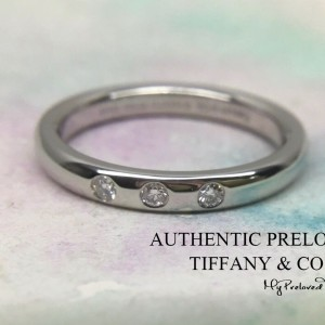 Pre-owned Tiffany & Co. Elsa Peretti 3 Diamonds Platinum Stacking Band Ring