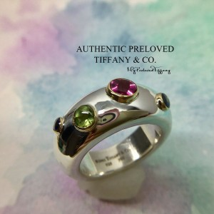 Pre-owned Tiffany & Co. Etoile Sapphire Peridot Silver Gold Ring #7